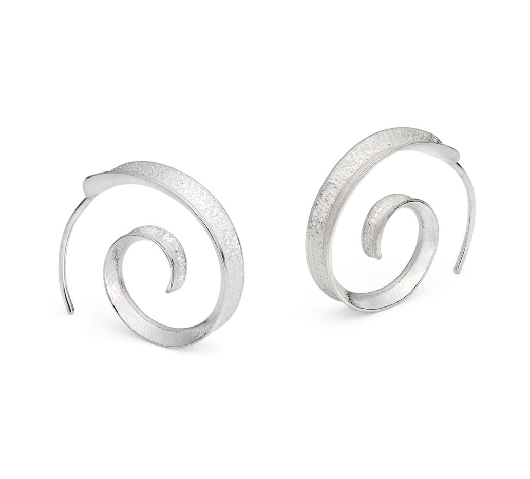 Curl Earrings Simple Silver