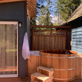 With a bunkhouse and a big open deck, we just had to add a beautiful cedar tub. Have you soaked in a cedar tub? Oh I promise you will want to.
