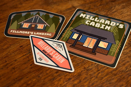 We always get stickers from everywhere we go...so naturally we felt it was right to have them for the cabins!