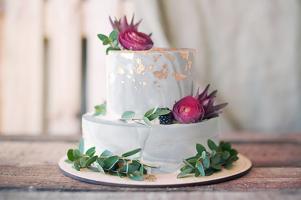 Burgundy And Gray Color Scheme Wedding Cake