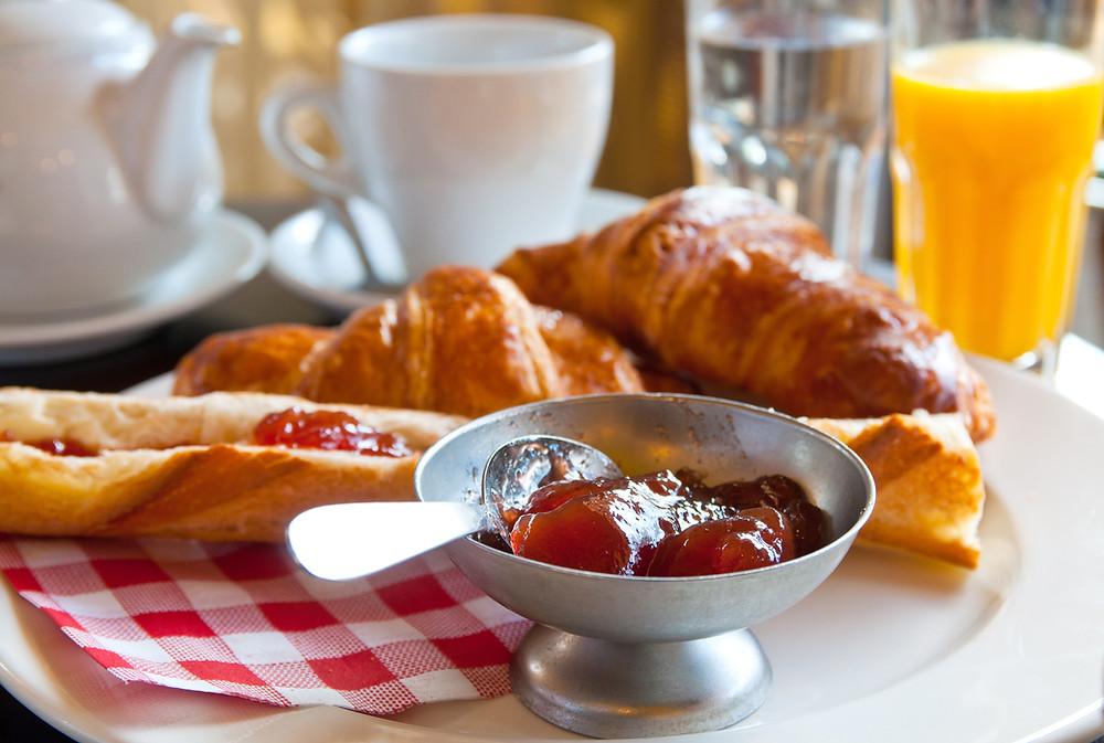 croissants and orange juice breakfast