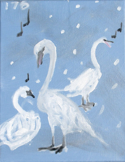 #2120 Trumpeting swans, oil on canvas, 1