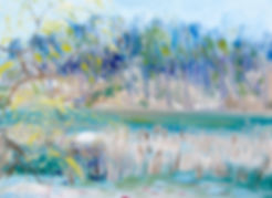 This is an Impressionist oil painting of a white swan on a nest in High Park called By the Marsh