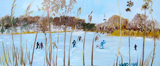 0119 Ski de Fond: On the Pond, oil on pa