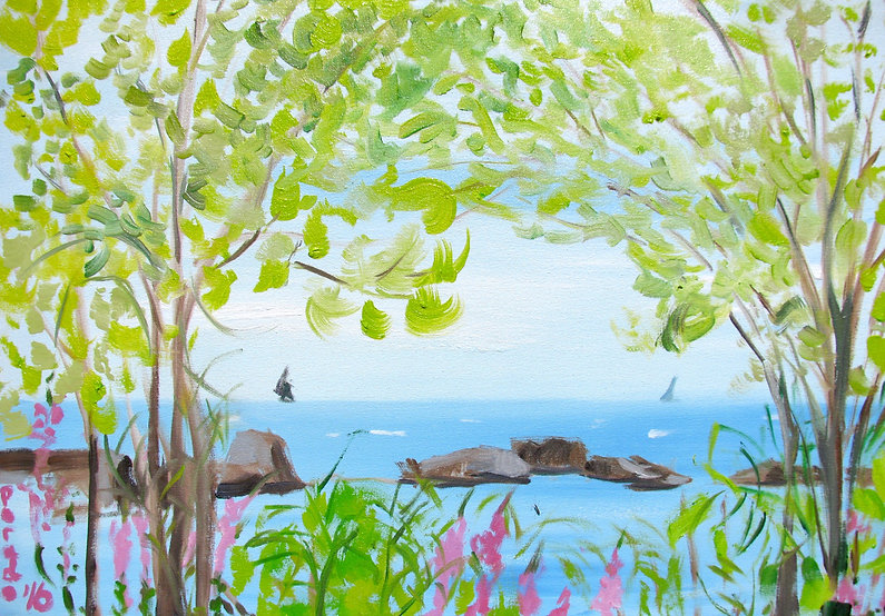 Trees and Blazing Stars by the Lake, oil