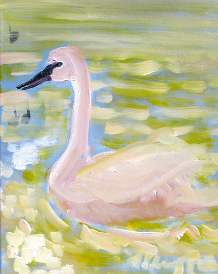 #2020, Pink Swan, 14 x 11 inches, oil an