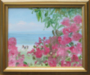 1519 Roses at the Shore, framed, oil on