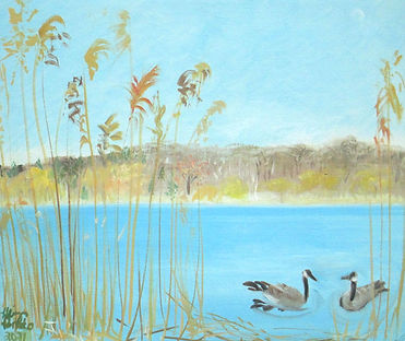 #2421 Grenadier Geese, oil on canvasboar