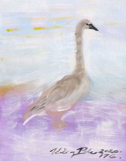 #920 Cygnet Teenager, oil on canvas over