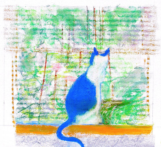 #4720 Cat in the Window pastel on canvas