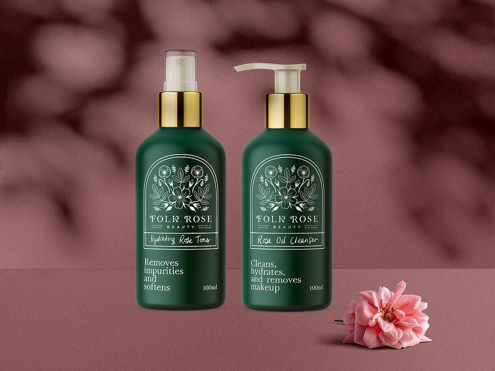 Brand design and product mockups for Folk Rose Beauty - natural skincare products
