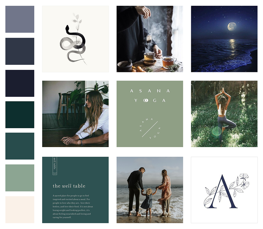 Mood board for Andrea Dalton Wellness - logo and brand design for creative business