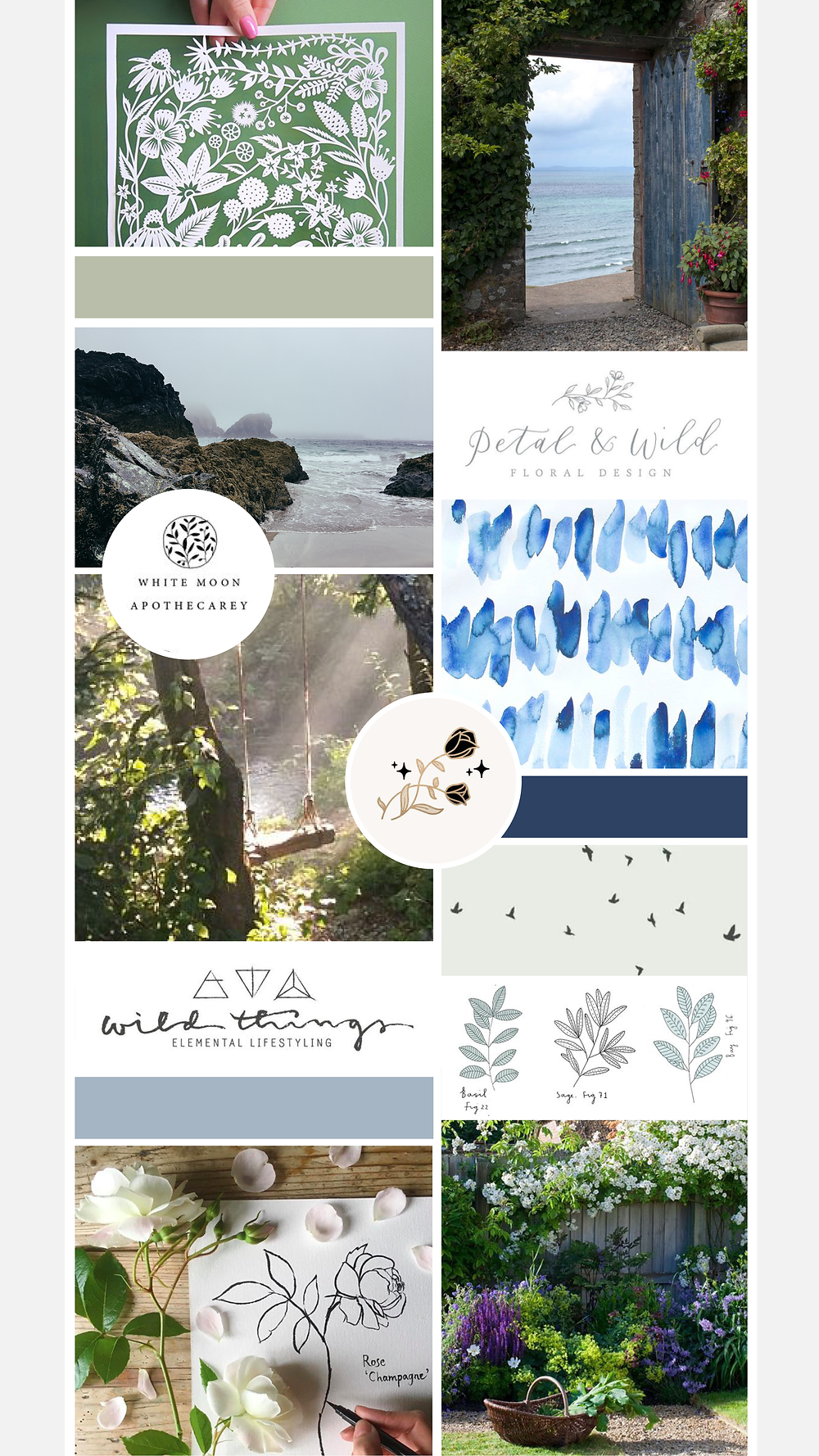 Mood board for Pippa Parfait | logo and branding design for creative ladies and small businesses