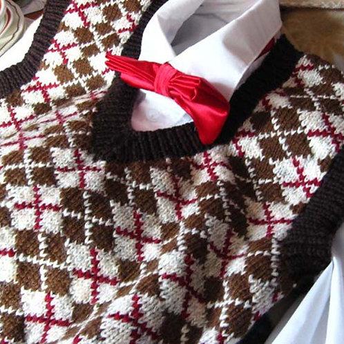 Hand Knit Brown Argyle Sweater Vest, Size 2-4