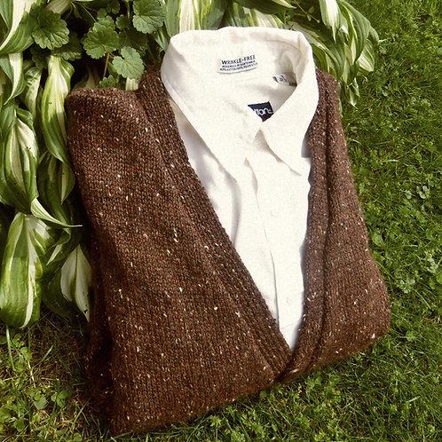Men's Hand Knit Coffee Brown Tweed Cardigan , sz. XL 42-44