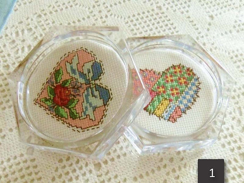 Set of 2 Patchwork Cross Stitch Heart Coasters or Paperweights, Handmade