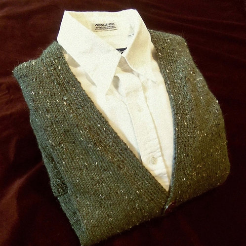Man's Olive Green Tweed Wool Cardigan, Hand Knit, Sz. M 38-40