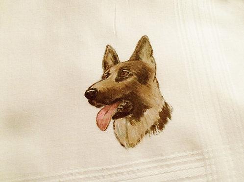 German Shepherd Dog Hand Painted Hankie, Handkerchief