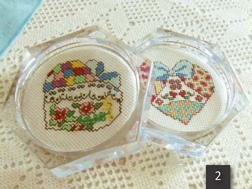 Set of 2 Cross Stitch Heart Coasters, Calico Heart, Lace Heart