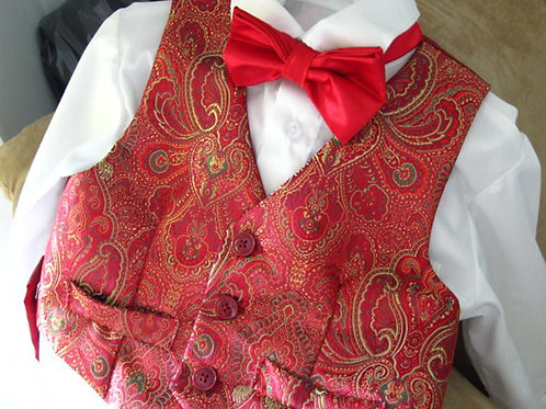 Boy's Red Brocade Vest Available in Sz 4 and 6