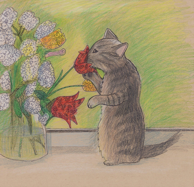Kitty Sniffing Flowers