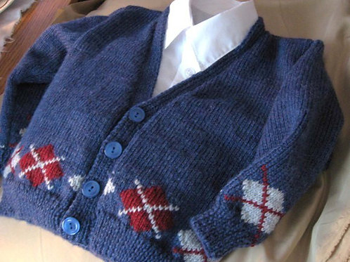 Red White and Blue Hand Knit Argyle Cardigan for Young Boys, Size 3
