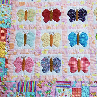 Patchwork Butterfly Quilt, Twin Sized, Handmade