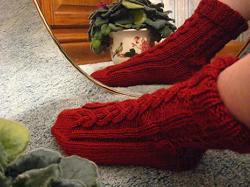 Cranberry Cabled Socks, Ladies Size Small
