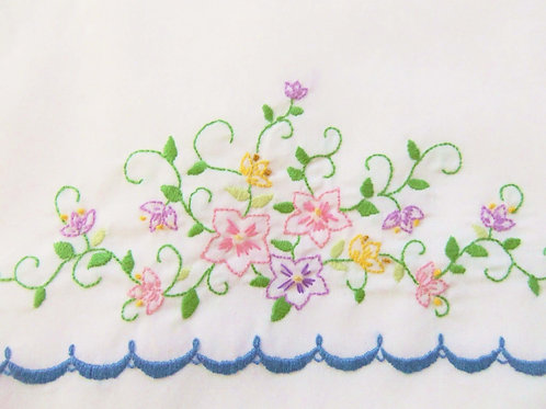 Flowers and Scallops Embroidered Pillow Case Set (2)
