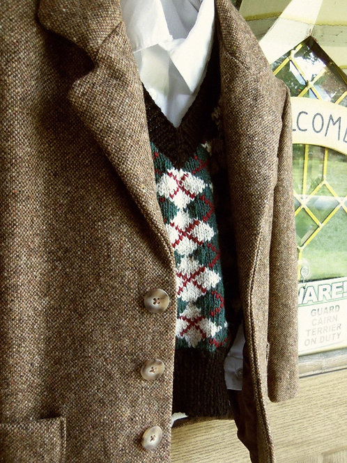 Boy's Hand Knit Wool Argyle Sweater Vest in Green, Black and Cream