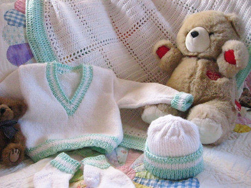 Boy's Green and White Layette Set (up to 6 months)