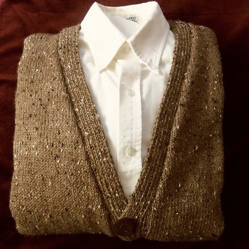 Man's Hand Knit Donegal Tweed Wool Cardigan Sweater, Portobella Brown, Size Med