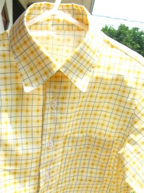 Little Boy's Short Sleeved, Yellow Checked Cotton Shirt, Size 4, Handmade