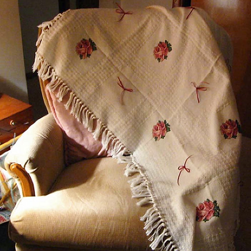 Rose Cross Stitched Afghan / Blanket Handmade