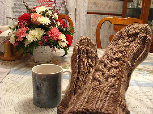 Cabled Socks, Cafe au Lait Brown, Ladies, Hand Knit, Sz Medium