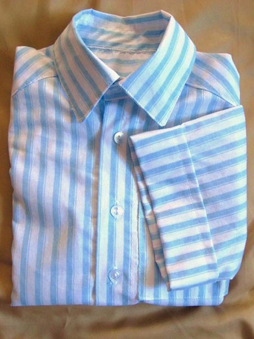 Blue and White Striped Short Sleeved Dress Shirt for Boys, Size 4