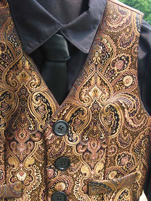 Boys' Formal Vest in Copper Paisley Brocade