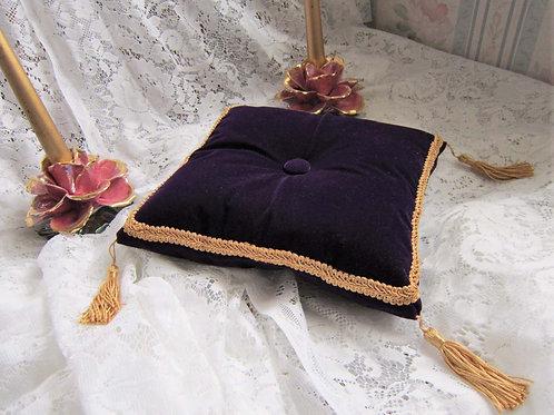 "Purple Velvet Cinderella-Style with Gold Trim and Tassels, 10"""