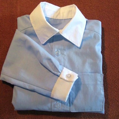 Little Boy's Blue Dress Shirt with Contrasting Collar and Cuffs