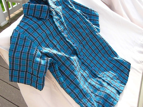 Blue Plaid Short Sleeved Shirt for Boys, Size 4
