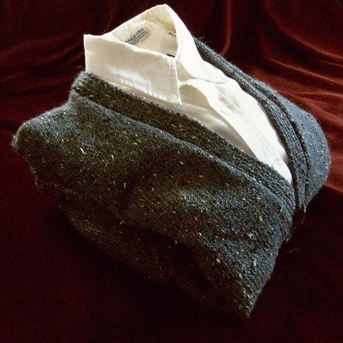 Slate Blue Hand Knit Tweed Cardigan for Men, sz M 38-40