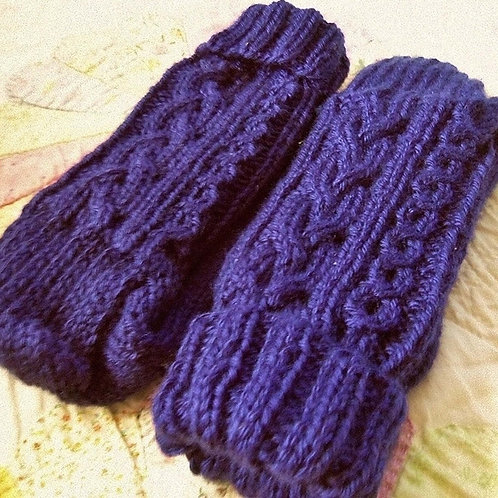 Sapphire Blue Hand Knit, Ladies, Cabled Socks, Size Large