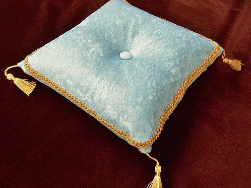 Ice Blue Royal Pillow with Gold Trim and Tassels, 10""