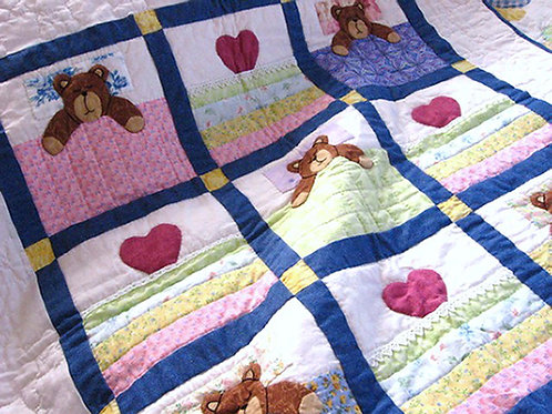 Teddy Bears and Hearts Patchwork Quilt