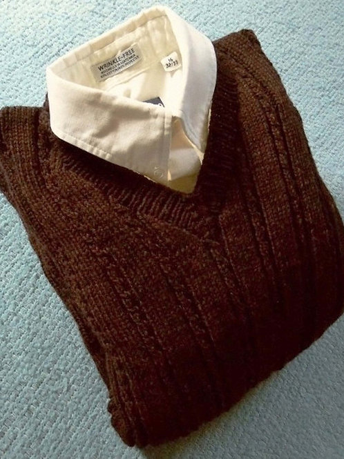 Black Maple Man's Hand Knit Cabled V-Neck Sweater, sz. 42 Large,