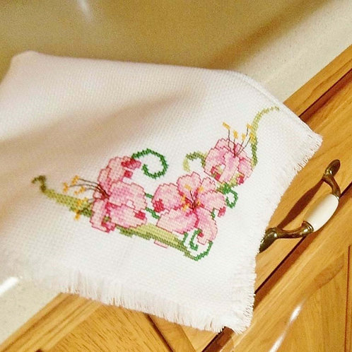 Pink Orchid Cross Stitched Bread Cloth, Handmade