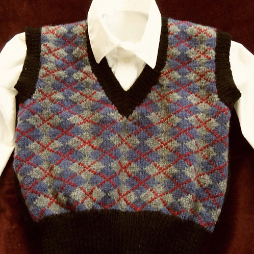 Gray and Blue Wool Argyle Vest for Boys, size 4-6