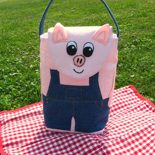 Piggy Wiggy Woo, Pig in Overalls Lunch Bag
