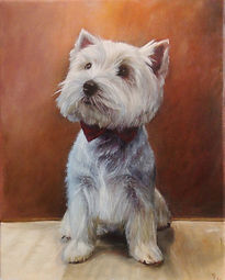Westie With Bow Tie Oil Painting