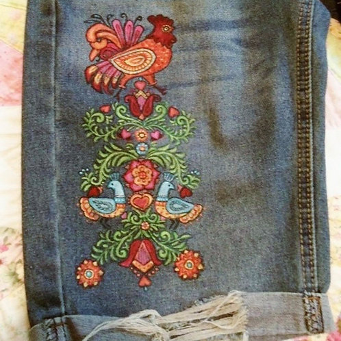 Psychedelic Rooster Hand Painted Ladies Overalls, sz. 2